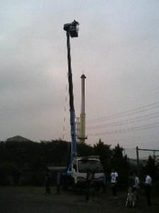 16メートルの高所作業車から生中継
